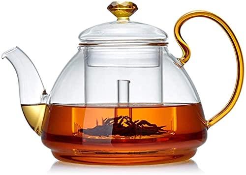FHISD Jarra de Agua de Vidrio Olla Grande de Vidrio de borosilicato con Juego de infusión de Vidrio Desmontable Ideal para Hojas Sueltas Jarra de Vidrio de té con Flores Jarra de Agua Re