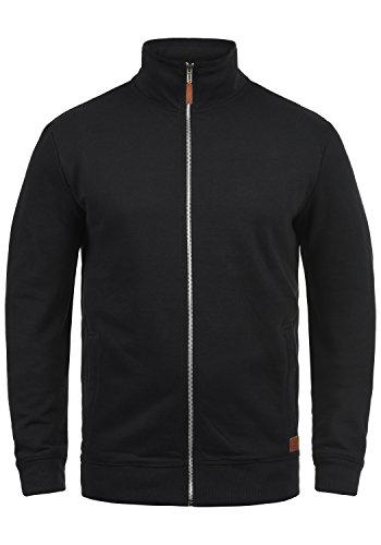 Blend Alio Herren Sweatjacke Cardigan Ohne Kapuze Mit Reißverschluss Stehkragen Und Fleece-Innenseite, Größe:XL, Farbe:Black (70155)