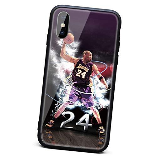 XMYP Estuche de teléfono de Kobe para iPhone 7 8 Series, Lakers 24 Mamba Black Mamba Teléfono Thermed Glass Back + Soft Silicone TPU Shock Case Protectora para 7/8, 7/8 P J-7/8