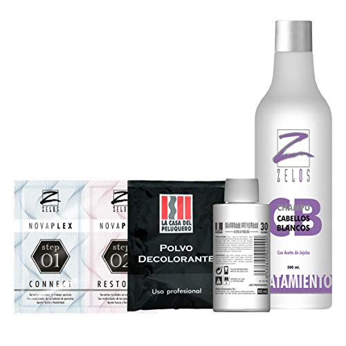 Pack Reflejos en Casa: Oxigenada 30 Vol, Sobre Polvo Decolorante, Tratamiento en 2 Pasos Nova Plex y Champú Cabellos Blancos Pigmento Violeta