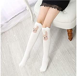 Lovely Socks Children Cotton Mesh Socks Kids Spring and Autumn Rabbits Patterns Mid Tube Stocking(Grey) Newborn Sock (Color : White)
