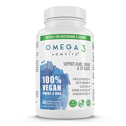 Omvits Vegan Omega 3 DHA Supplement from Algae Oil - 60 Capsules with Vitamin E - Sustainable Algal Alternative to Fish Oil - Vegetarian Essential Fatty Acids - Supports Heart, Brain & Eye Health