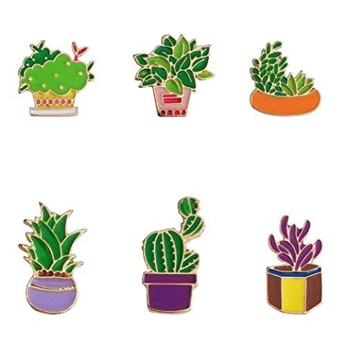 Oulensy Nette Emaille-Kaktus-Blume Gras Aloe Vera Topfpflanze Abzeichen Brosche Pins