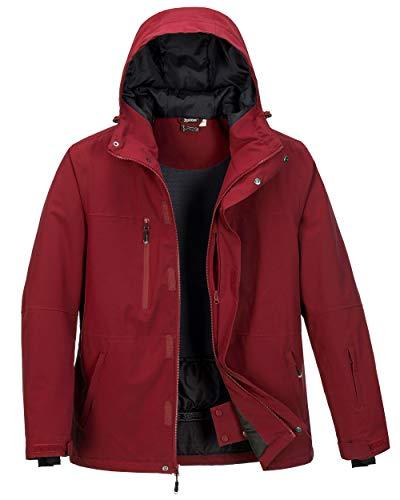 33000ft Skijacke Herren Warme Outdoorjacke Wasserdicht Winddicht Winterjacke Funktionsjacke Atmungsaktiv Snowboardjacke Softshell Jacke mit Kapuze Rot XL