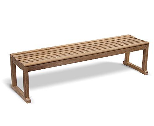 Jati Tavistock Teak 4 Seater FULLY ASSEMBLED Backless Garden Bench - 1.8m