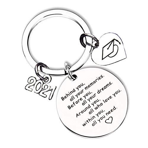 Llavero de graduación 2021 inspirador regalo anillo colgante para graduados Clase de 2021 niños niñas hija hijo profesor estudiante escuela secundaria universidad recuerdo de graduación