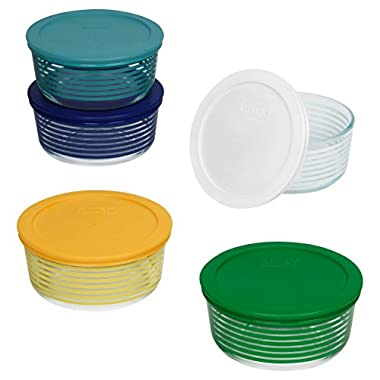 Pyrex 1125925 10 Piece Simply Store Lanes Decorated Storage Set, Clear