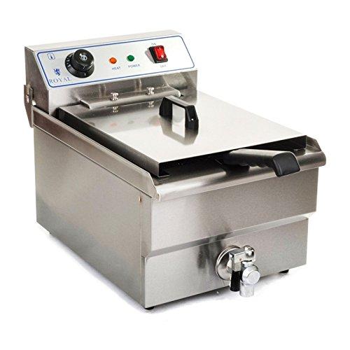 Royal Catering Friteuse Electrique Professionnelle RCSF_16ETH (16L, 3500W, régulation de température auto, robinet de vidange)