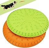 Legendog 2 Pcs Dog Flying Disc Rubber Catcher Toy 9 Inch Large Dog Toys (Green&Orange)