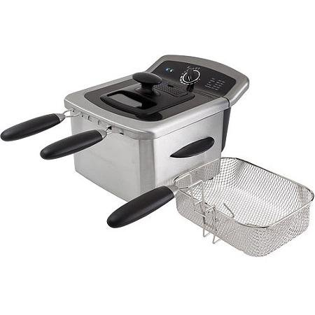 4l Dual Deep Fryer, Stainless Steel Includes Two Small Fryer Baskets and One Large Fryer Basket