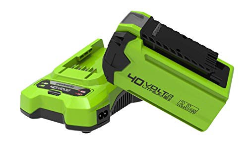 Greenworks 40V 2,5Ah Battery G40B25 and Universal Charger G40UC (Li-Ion 40V 2,5Ah Output 80W/2A Suitable for All Tools and Batteries of the 40V Greenworks Series)