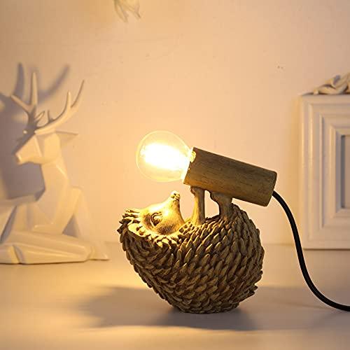 Lámpara de pared con forma de erizo LED E12, bombilla LED, lámpara de pared con forma de erizo, lámpara de pared vintage en diseño industrial, figura decorativa para jardín, terraza, pasillos, salones