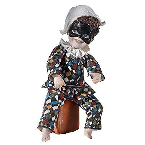 Statue aus Porzellan Harlekin - Puppe aus Porzellan Elegante handwerkliche Dekoration Kunsthandwerk Vicentina - Made in Italy