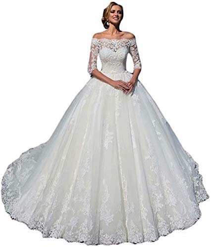 Women's Wedding Dresses for Bride 3/4 Sleeves Tulle Off The Shoulder Wedding Party Dresses White US12