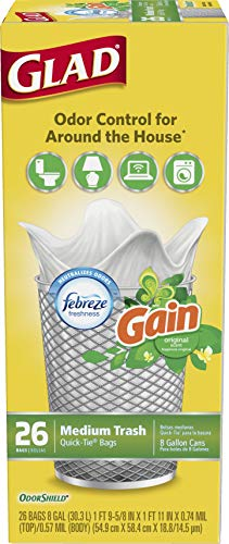Glad Medium Quick-Tie Trash Bags - OdorShield 8 Gallon White Trash Bag, Gain Original with Febreze Freshness, 26ct, Pack of 6 (Package May Vary)