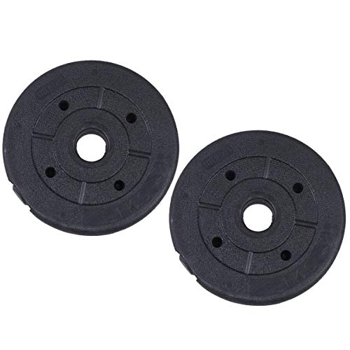 Garneck 2pcs Weight Disks Weight Plates Dumbbell Disks Barbell Disks for Weight Training Home Gymnasium (Black)