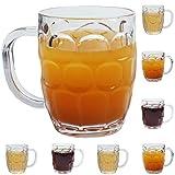 EP 8 Pack Plastic Beer Mugs, 20oz Clear Dimple Stein Beer Mug, Dishwasher-Safe, BPA Free