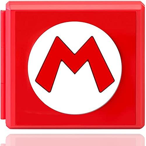 Genrics Funda de Juegos Compatible con Nintendo Switch con 12 Ranuras para Almacenamiento de Tarjetas de Juego y 12 Ranuras para Tarjetas SD, Estuche para Nintendo Switch Lite NS (Rojo M)