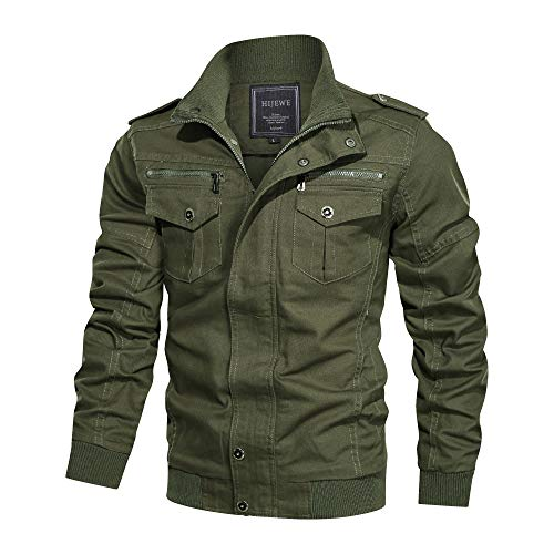 Men's Cotton Casual Military Jacket Stand Collar Spring and Autumn Lightweight Outwear Coat Windbreaker (Army Green, X-Large)