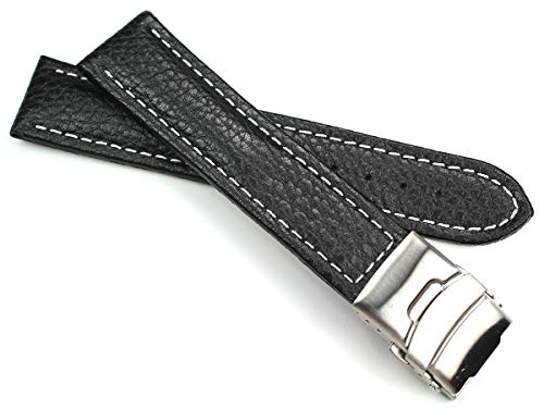 Sulla 22mm Genuine Leder Uhrenarmband mit Edelstahl Faltschließe schwarz weiße Naht