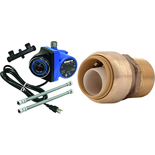 Watts Premier Instant Hot Water Recirculating Pump System & SharkBite U134LFA Straight Connector Plumbing, Male 3/4 in, MNPT, PEX Fittings, 3/4-Inch by 3/4-Inch