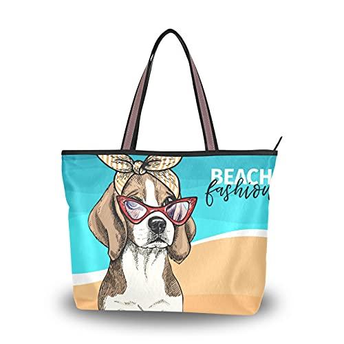 Sac à main Shopping Sac fourre-tout Sacs à main Sacs à bandoulière Sangle légère pour mère Femmes Filles Dames Étudiant Portrait de chien Beagle portant des lunettes de soleil Bandana