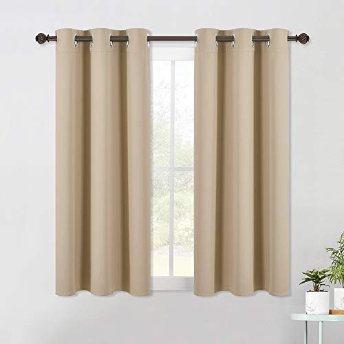 NICETOWN Room Darkening Draperies Window Curtain Panels, Thermal Insulated Grommet Room Darkening Curtains for Bedroom (Biscotti Beige, 2 Panels, W42 x L54 -Inch)