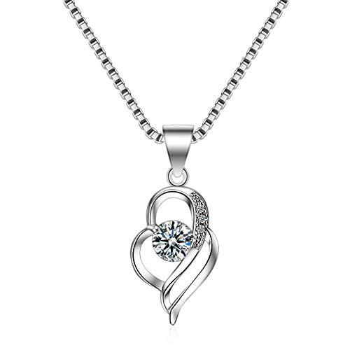 N/A Collar Colgante Collar Mujer Diamante en Forma de corazón Colgante día Cadena de clavícula joyería de Plata Regalos de Fiesta de cumpleaños de Navidad