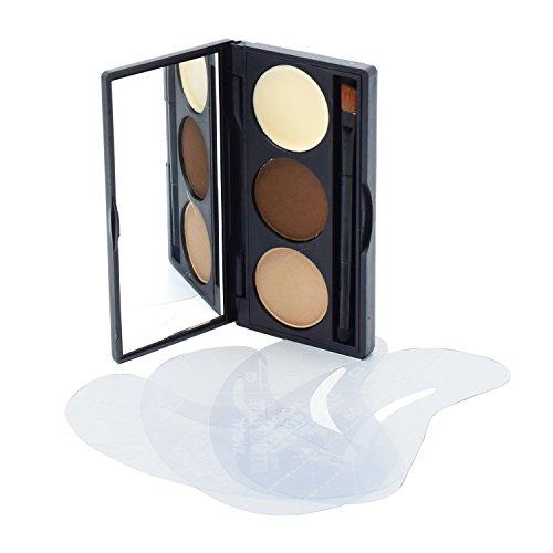 Lover Bar Maquillage 3 Couleur Sourcils Kit-Eye Brow Tint Poudre Palette-Professionnel Beauté Cosmétique Outils-la Cire Sourcils pour la Crème illuminateur-Make Up HD Sourcils avec 4 Sourcils Pochoirs