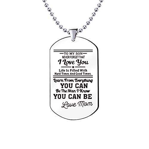 KENYG Inspirational Jewellery To My Son RVS Hond Tag Zilveren Ketting Kerstmis Verjaardagscadeaus