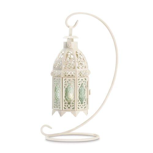 Gifts & Decor Cadeaux et décor Blanc Fancy Antique Lattice Bougie Lanterne avec Support