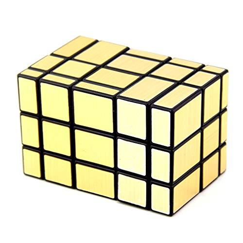 LBMF Espejo de Dos Piezas en Forma de Cubo de Rubik Bricolaje límite Bundle Espejo Giratorio 2 siamés Divertido Puzzle Cubo de Rubik,Oro