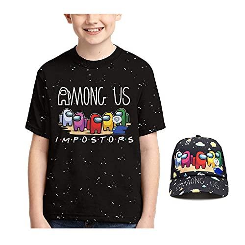 Queenromen Pack de 2 camisetas para niños con gorra de béisbol, divertido impostor Starry Sky 3D impresión camiseta para niños y niñas jugadoras regalo