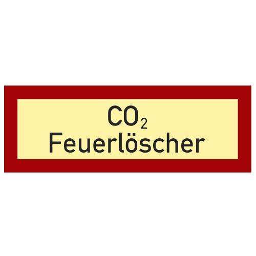 Co² Feuerlöscher Schild Kunststoff nachleuchtend selbstklebend 148 x 52 mm