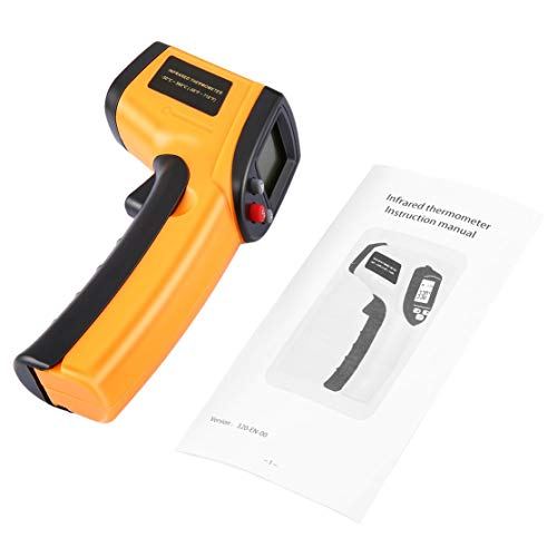 Termómetro infrarrojo LCD digital sin contacto Pistola Punto láser IR Temperatura de imagen infrarroja térmica Medidor de mano Pirómetro Kaemma(Color:Yellow)