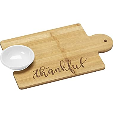 Precious Moments Bountiful Blessings by 171497 Thankful Puzzle Piece Bamboo Cutting Board And 2-Oz Serving Bowl, 12-inches by 8-inches