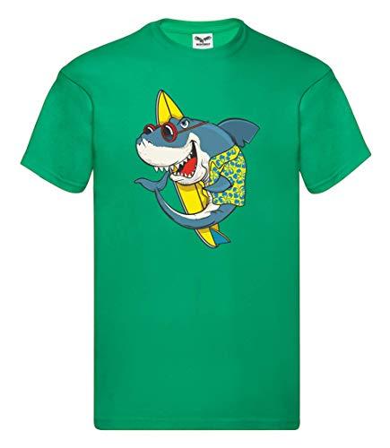 Camiseta – Tabla de surf tiburón gafas de sol hawaiana – Camiseta para hombre y hombre Kelly Green XL