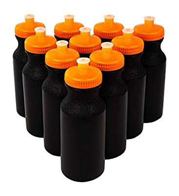 CSBD 20oz Sports Water Bottles, 10 Pack, Reusable No BPA Plastic, Pull Top Leakproof Drink Spout, Blank DIY Customization (Black Bottle - Neon Orange Lid)