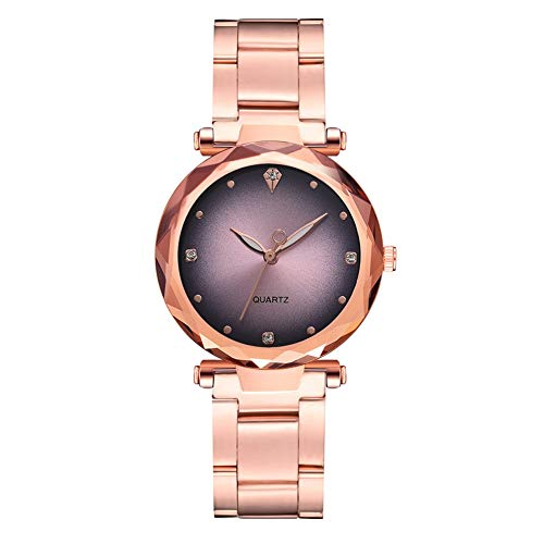 GJHBFUK Reloj Mujer Moda Rose Gold Correa Reloj De Cuarzo Gradiente Dial Dial Rhinestone Damas Reloj (Rosa)