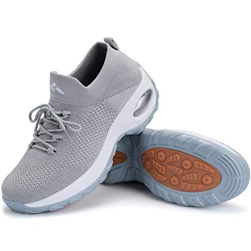 Mishansha Air Slip on Walkingschuhe Damen Leichte Fitnessschuhe für Frauen Outdoor Laufschuhe Atmungsaktive Indoor Sportschuhe Gym Hellgrau C, Gr.37 EU