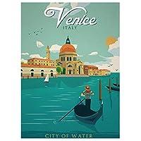 ヴィンテージヴェネツィア旅行ポスター絵画キャンバス壁アートキャンバスに印刷リビングルームの装飾のための写真家の装飾50x70cmフレームなし