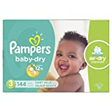 Diapers Size 3, 144 Count - Pampers Baby Dry Disposable Baby Diapers, Giant Pack