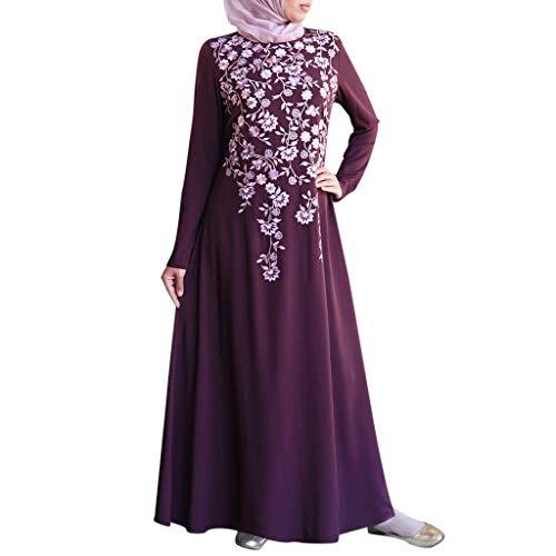NINGSANJIN Arabisch Roben Muslime Lange Maxi Kleid Beiläufig Lose Islamisch Kleidung Kaftan Marokkanisch Abend Party Kleider (Violett,5XL)