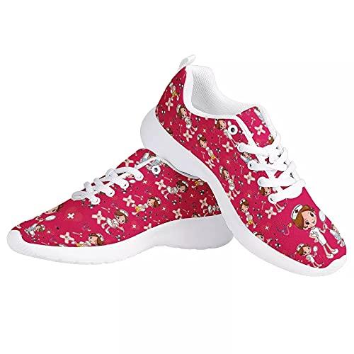 chaqlin Zapatillas de deporte de malla para mujer, para correr, para trabajo casual, para correr, correr, zapatos al aire libre, color Rosa, talla 38 EU