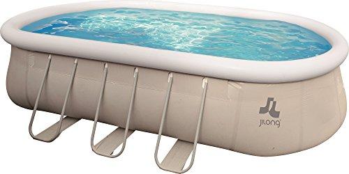 Jilong Pool selbsttragender Pool, Oval mit Gestell, grau 610x360x122 cm grau