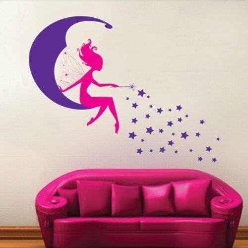 Fée rose sur lune nouvelle pourpre, étoiles sticker mural