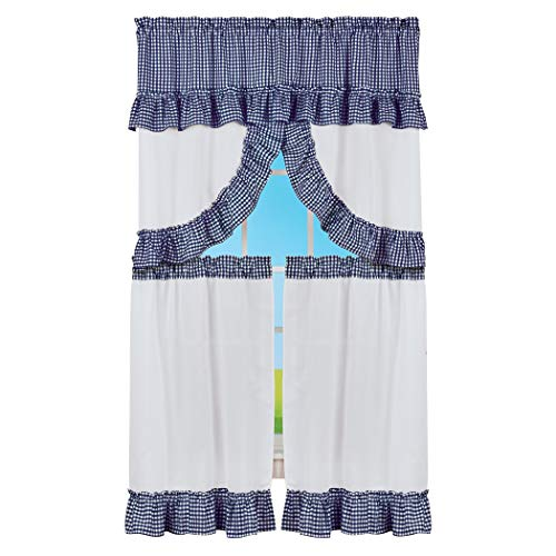 Collections Etc Country Style Ruffled Plaid Valance & Tier Window Curtains