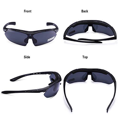 Carfia Multi TR90 UV 400 Outdoor Sport Brille Polarisiert Sonnenbrille Radbrille mit 5 wechselbare Linsen für Skilaufen Golf Radfahren Laufen Angeln Baseball - 5