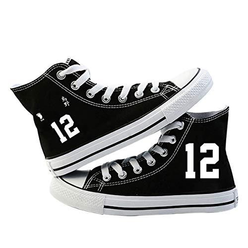 VEVEBAY Haikyuu Zapatos unisex con cordones Zapatos de lona para niños y niñas adolescentes Estudiante Botines Moda Zapatillas (37,4)