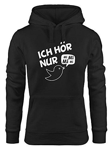 Preisvergleich Produktbild MoonWorks Hoodie Damen,  Spruch Ich hör nur Mi Mi Mi MiMiMi,  Sweatshirt mit Kapuze Kapuzenpullover schwarz M